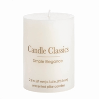 "Wholesale 3 7/8"" White Pillar Candle for sale at  bulk cheap prices!"