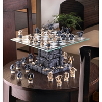 Wholesale Black Tower Dragon Chess Set for sale at bulk cheap prices!