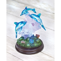 Wholesale Dolphins on Wood Base with LED Lights for sale at bulk cheap prices!