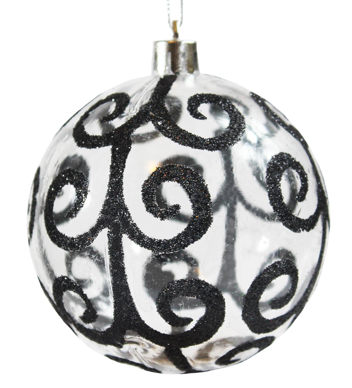 Christmas Ball Ornaments.Wholesale Sleetly 12pk Black Swirl 80mm Christmas Ball Ornaments